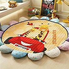 VClife® Teppich Kinderteppich Baumwolle Spielteppich Yoga Schlafzimmer Wohnzimmer Sofa Boden Studiozimmer Dekoartikel Baby Krabbeldecke Geschenk Gesteppt Durchmesser von 150cm Giraffe