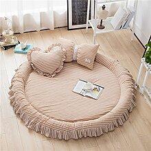 VClife® Teppich Matte Kinderteppich Krabbeldecke Kinder Baby Spielteppich Prinzessin Mädchen Geschenk (Ohne Zierkissen) 3cm Hoch Durchmesser von 140cm Khaki