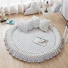 VClife® Teppich Matte Kinderteppich Krabbeldecke Kinder Baby Spielteppich Prinzessin Mädchen Geschenk (Ohne Zierkissen) 3cm Hoch Durchmesser von 140cm Weiß