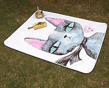VClife Teppich Picknick Kinder Spielteppich Baby Krabbeldecke Kinderteppich Geschenk Yoga Schlafzimmer Wohnzimmer Kinderzimmer Boden Balkon Ausflug Ganzjährig 140 x 200cm Katze
