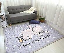VClife® Teppiche Kinderteppich Baby Krabbeldecke Kinder Geschenk Spielteppich Yoga Matte für Schlafzimmer Wohnzimmer Studiozimmer Balkon 150 x 200cm Elefant Hase