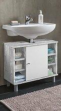 VCM Bad Unterschrank Waschtisch Waschbecken Badschrank Regal Tobina 54x60x32 Badezimmer Schrank Beton / Weiß