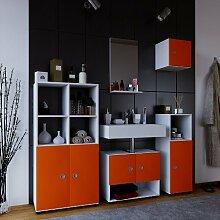 """VCM Badmöbel Komplett Set 5tlg Komplettbad Badezimmer Bad Schrank Regal Unterschrank Spiegel Weiß/Orange """"Intola ll"""