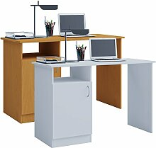 VCM Computertisch Desas Holzstruktur, Weiß,