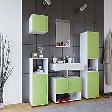 VCM Hebola l Badmöbel Set 5-Tlg Hochschrank Unterschrank Spiegel Hängeschrank, Holzdekor, Weiß / Grün, 180 x 130 x 30 cm