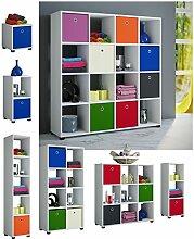 VCM Raumteiler Regal Bücherregal Standregal Aktenregal Aufbewahrung Raumtrenner Badmöbel 8 Fächer, 2X Stoffbox Orange