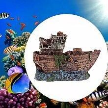 Vdk Kunstharz Schiffswrack Boot Angeln Aquarium Ornament Kunststoff Dekoration Pflanze für Fish Tank Zubehör