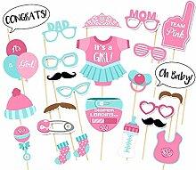 Veewon Babyparty Foto Props Party Babyflasche Masken Photo Stand Props Neugeborene Dame Girl Partydekoration - 25 Stück