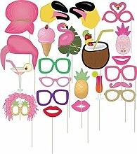 Veewon Flamingo Fotorequisiten Foto Booth Requisiten Tropical Hawaiian Style Night Out Spiele Photobooth Party Gefälligkeiten Henne Partei Dress up Zubehör, 22 Stück