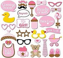 Veewon New 29pcs Babyparty Foto Props Babyflasche Fotorequisiten Masken Rosa Photo Booth Props Neugeborene Dame Girl Partydekoration