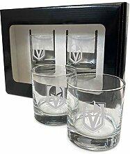 Vegas Golden Knights Glas-Set mit Gravur, 383 ml,