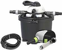 Velda 126311 Druckfilter Komplettset für Teiche bis 10.000 Liter inkl. Pumpe, 9 Watt UV-C, Clear Control Se