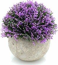 velener Mini Kunststoff Künstliche Kiefer Ball Formschnittgärtnerei-Pflanze mit Töpfe für Home Decor (lila)