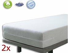 VELFONT – Set mit 2 (Pack) Frottee-Matratzenbezug aus 100% elastischer Baumwolle - Weisse - Matratzen-Höhe 15-25cm - verfügbar in verschiedenen Größen - 90x190/200cm