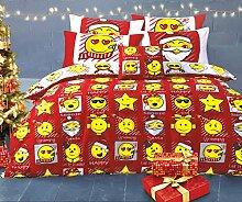 Velosso Emoji-Weihnachts/Bettbezug Rot/Weiß Wende
