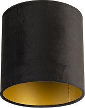 Velour Lampenschirm schwarz 20/20/20 mit goldener