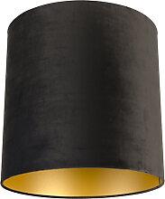 Velour Lampenschirm schwarz 40/40/40 mit goldener