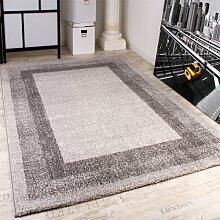 Velours Kurzflor Teppich - Winchester - Modern mit Bordüre in Grau, Grösse:80x150 cm