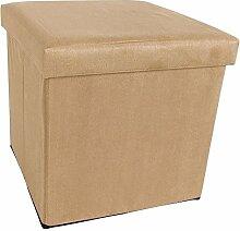 Velours Sitzwürfel mit Stauraum 3 Farben Sitzhocker Aufbewahrung (beige)