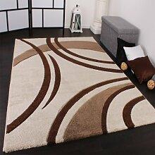 Velours Teppich Modern Creme Braun, Grösse:80x150 cm