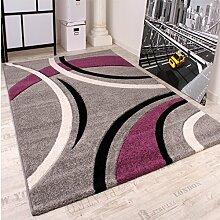 Velours Teppich Modern Grau Lila - Violett Silver, Grösse:200x290 cm