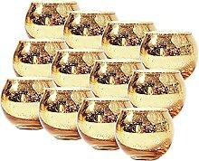 Venbin 12Pcs Gold Kerzenhalter Runde Teelicht