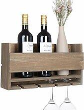 Vencipo Weinregal Holz zum 4 Gläser Flaschenregal
