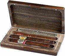 VenetiaLab H Travel - Humidor für ca. 3 Zigarren I Zigarrenbox aus Massiv Holz mit Befeuchtungssystem I Zigarren-Zubehör für Reise und Transport - Braun