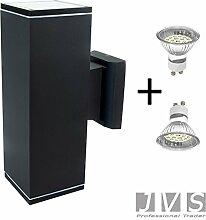 VENEZIA IP44 inkl. LED GU10 4W (250-300lm) Warmweiß Wandleuchte Wandlampe Außenleuchte Eingangsleuchte (Quadratisch)