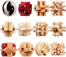 Vengo 12 STK Holz Knobelspiele Set, Rätsel