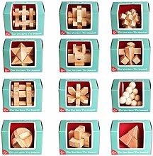 Vengo 12St. Holz Knobelspiele Rätsel Brainteaser