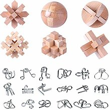 Vengo 24Pack Metall Knobelspiele Set Rätsel