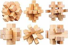 Vengo 6 STK Holz Knobelspiele Set, Rätsel