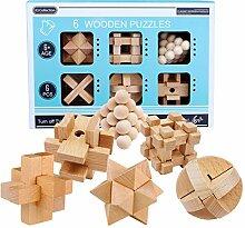 Vengo 6St. Holz Knobelspiele Set Rätsel
