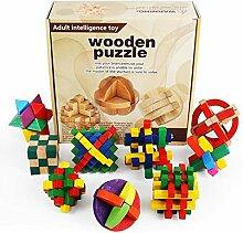Vengo 9 STK Holz Knobelspiele Set, Rätsel