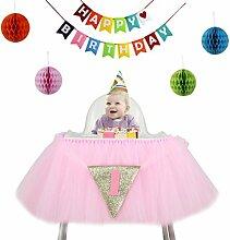 VENI masee Baby 1. Geburtstag Party Banner Dekoration Glitzer Tüll Tutu Rock für hohe Stuhl mit 1Triangle Flagge und bunte Wabenbälle Pink4