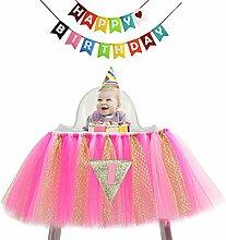 VENI masee Baby 1. Geburtstag Party Banner Dekoration Glitzer Tüll Tutu Rock für hohe Stuhl mit 1Triangle Flagge und bunte Wabenbälle HotPink2