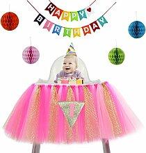 VENI masee Baby 1. Geburtstag Party Banner Dekoration Glitzer Tüll Tutu Rock für hohe Stuhl mit 1Triangle Flagge und bunte Wabenbälle HotPink4