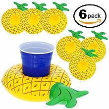 VENI masee Schwäne aufblasbares Schwimmbecken Floating Getränkehalter für Hawaiian Thema party-float Getränkedosen, Tassen & Flaschen, 2PCS Ananas