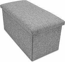 VENKON - Faltbare Sitzbank mit Aufbewahrungsfunktion Sitzhocker - Stoffbezug - 76 x 38 x 38 cm - grau