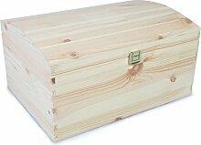 VENKON - Holztruhe mit gewölbtem Deckel aus Massivholz mit Metallverschluss - Kiefer naturbelassen unbehandelt - ca. 35 x 25 x 19 cm