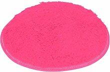VENMO Soft Bath Schlafzimmer Boden Dusche Runde Matte Teppich rutschfest Badematten Badvorlegercm und Badematte Rutschfest Waschbar Moderner Duschvorleger Flauschig Badezimmermöbe Antirutsch (Hot Pink)