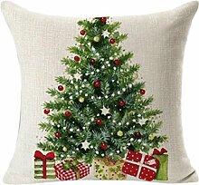 VENMO Weihnachtsbaum Wurfkissenbezug Home Dekorative Kissen Geschenk Pillow Cover Home Decorative Cushion Case Kissenhülle mit Reißverschluss Weihnachten Kissen Abdeckung Kissenbezug Leinen Kissenbez (Grau)