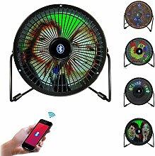 Ventilator, Greshare Portable Mini USB Bluetooth Vollfarb-LED-Display Tisch Schreibtisch Fan mit Texten, Echtzeit-Uhr und DIY Echtzeit-Displays (iOS & Android APP Support)