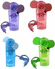 Ventilator Mini in 4 Farben Handventilator Miniventilator Hand Ventilator Umhängeband Lüfter (Lila)