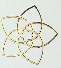 Venusblume 3D-Metall-Aufkleber - EnerChrom Ø 3cm GOLD - 3er-Pack
