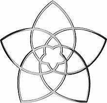 Venusblume 3D-Metall-Aufkleber - EnerChrom Ø 3cm SILBER - 3er-Pack