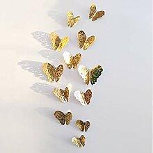 VEQWA Wandsticker 12 Stücke 3D Hohl Schmetterling