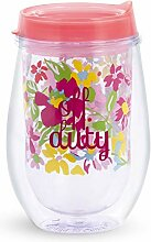 Vera Bradley Double Wall Tumbler Wine Glass with