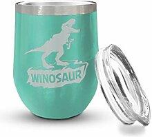 Veracco Winosaurier-Weinglas, ohne Stiel, lustiges